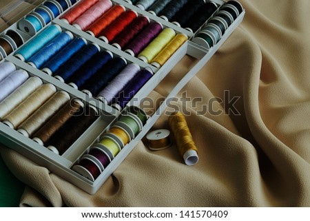 palette of  threads for needlework - stock photo