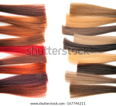 Palette samples of dyed hair. - stock photo