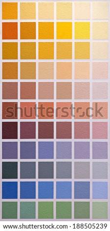 Palette wall of colour swatch for painting - stock photo