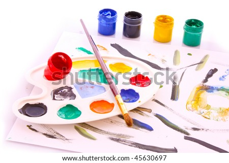 Palette with different colors isolated on white