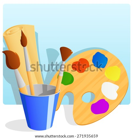 Palette with paint and brushes in bucket and paper scroll with background. - stock photo