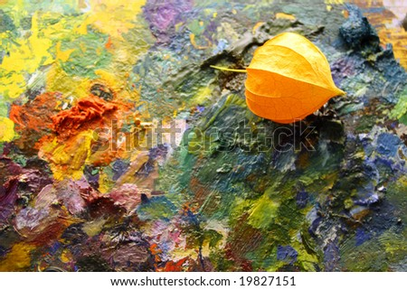palette with physalis - stock photo
