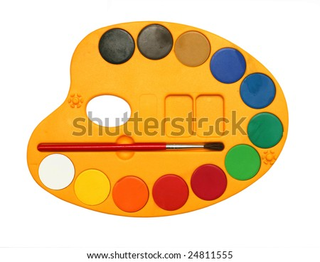 Palette with water colour paints isolated on white background - stock photo