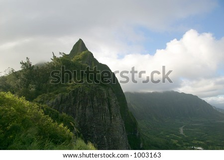 Pali Lookout (site of a historic battle in Hawaiian history that unified the islands, 100s of warriors leapt to their deaths during the battle) - stock photo