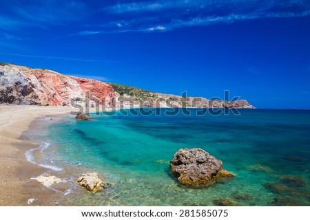 Paliochora beach, Milos Island, Cyclades, Aegean, Greece - stock photo