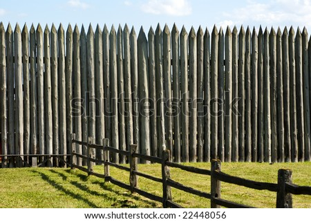 Palisade on a Pioneer fortification of Fort Vancouver near Portland Oregon - stock photo