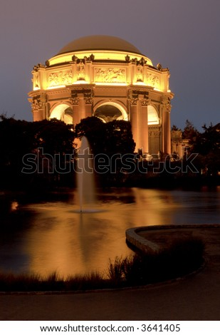 pallace of fine arts with reflection and with fountain at night - stock photo