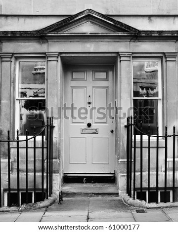Palladian Doorway in Black and White - stock photo
