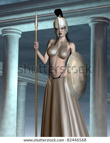 Pallas Athene the Greek Goddess of wisdom, civilization, warfare, strength, strategy, female arts, crafts, justice and skill (Roman Minerva) standing in her temple, 3d digitally rendered illustration - stock photo