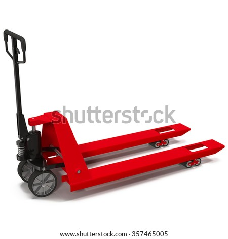 Pallet Jack Red on White Background