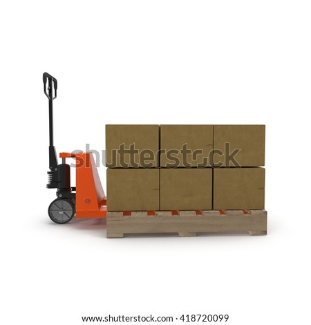 Pallet jack with boxes on pallets 3D illustration. - stock photo