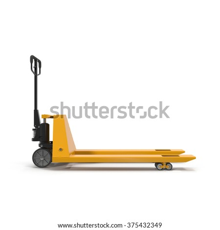 Pallet Jack Yellow on White Background