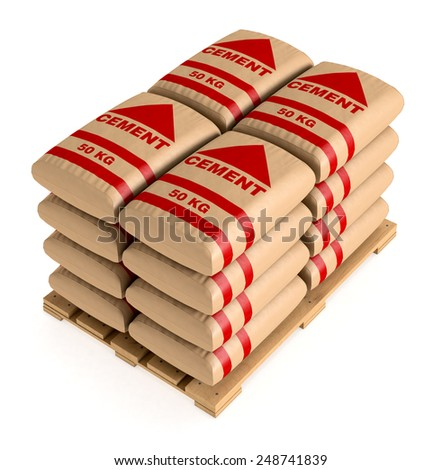 pallet of bags of cement on white background (3d render) - stock photo