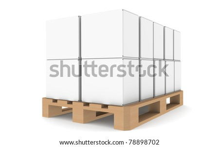 Pallet. Pallet with blank boxes for copy space. Part of warehouse and logistics series. - stock photo