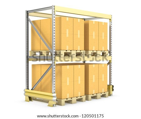 Pallet rack with cargo, isolated on white background - stock photo