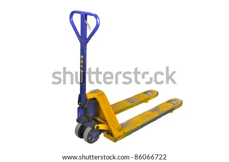 pallet truck isolated on white background - stock photo