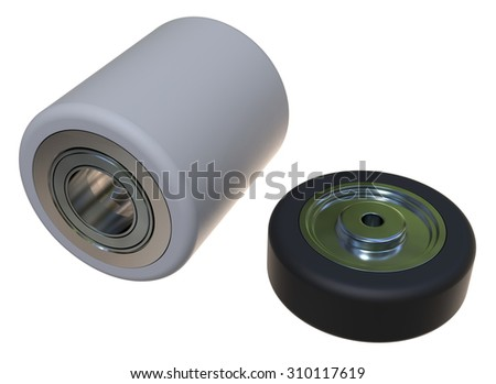 Pallet truck roller isolated on white - stock photo