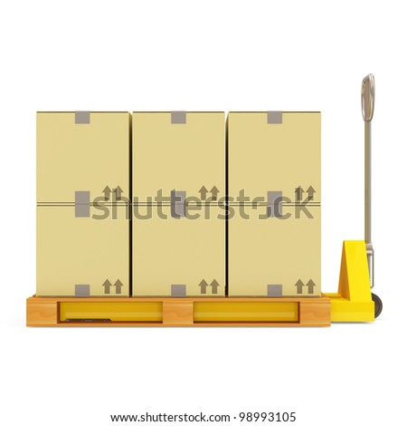Pallet Truck with Carton Boxes isolated on white background - stock photo