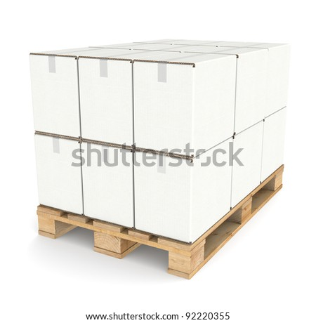 Pallet with Cardboard boxes. White textured Cardboard boxes on a Pallet. Part of Warehouse series. - stock photo
