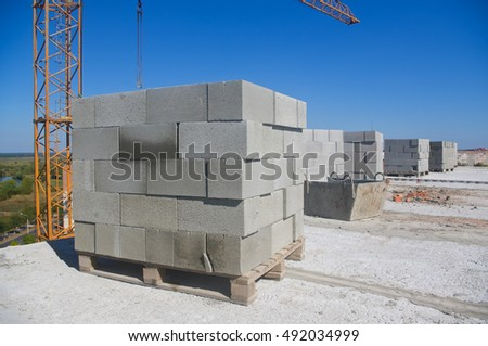 Pallets of breeze blocks for construction