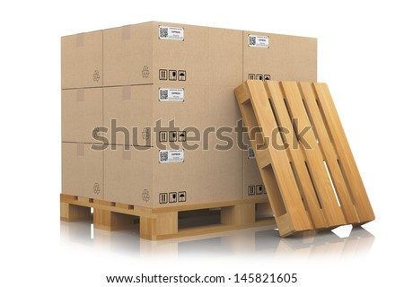 pallets with cardboard boxes - stock photo