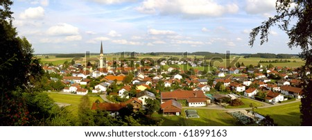 Palling, panorama of Bavarian town in Germany - stock photo