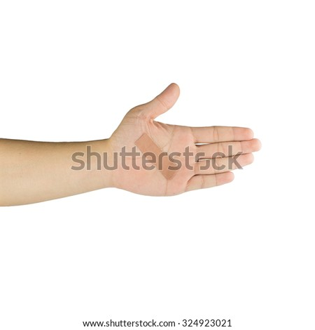 Palm and fingers with adhesive bandage, isolated on white background
