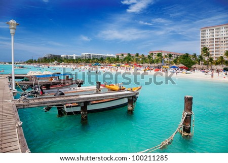 Palm Beach, Aruba, looking north toward Malmok Beach - stock photo