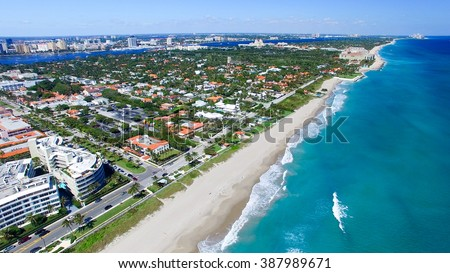Palm Beach, Florida. Amazing aerial view of coastline. - stock photo