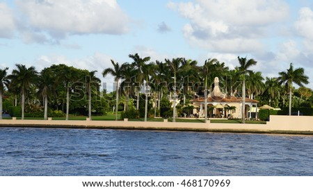 PALM BEACH, FLORIDA - NOV 29: Mar-a-Lago in Palm Beach, Florida, as seen on Nov 29, 2016. The estate is currently owned by The Trump Organization