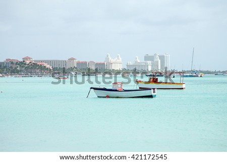 Palm Beach on Aruba island in the Caribbean - stock photo