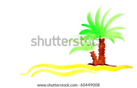 Palm beach sand island travel background. Handmade isolated paint on paper.