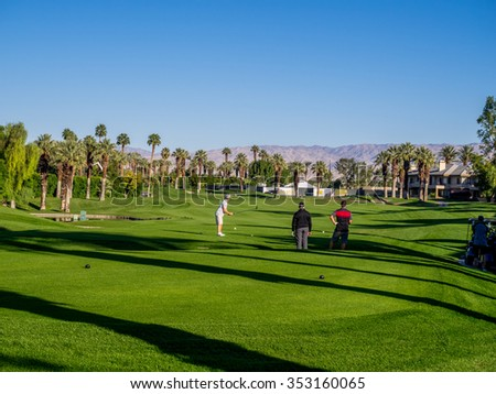 PALM DESERT, CA - NOV 14:  Golfing at the golf courses at the Marriott Villas Desert Springs on November 14, 2015 in Palm Desert, California. The Marriott is popular golf and convention destination. - stock photo