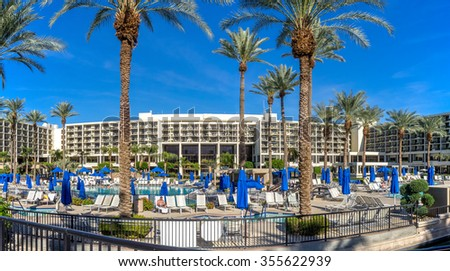 PALM DESERT, CA - NOV 19: View of the Pools at the JW Marriott Desert Springs Resort & Spa on November 19, 2015 in Palm Desert, California. The Marriott is popular golf and convention destination. - stock photo