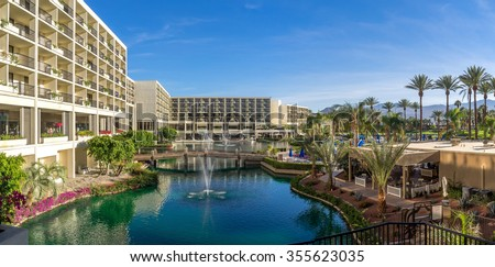 PALM DESERT, CA - NOV 19: View of the Pools at the JW Marriott Desert Springs Resort & Spa on November 19, 2015 in Palm Desert, California. The Marriott is popular golf and convention destination.