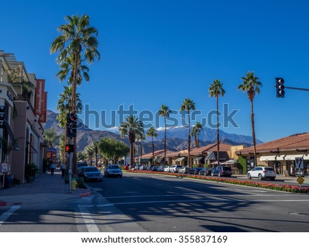 PALM DESERT, CA - NOVEMBER 22: El Paseo Shopping District on November 22, 2015 in Palm Desert. The Rodeo Drive of the desert, it features over 300 shops boutiques art galleries jewelers restaurants. - stock photo