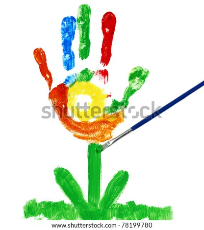 Palm flower painted by a child - stock photo