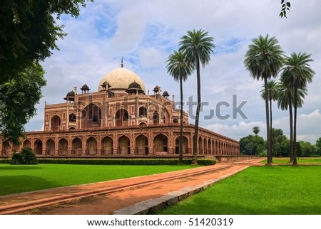 Palm garden with Mogul King Humayun's Tomb in New Delhi, India - stock photo