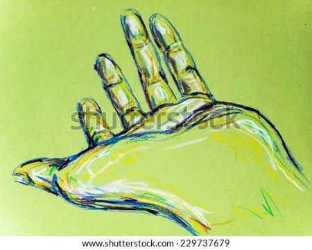 Palm Hand Drawing - stock photo