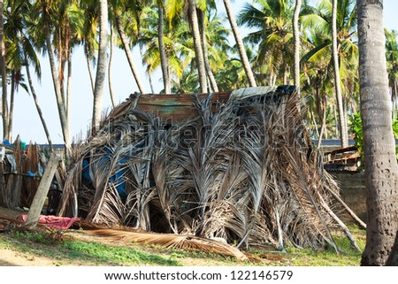 palm hut in Sri Lanka - stock photo
