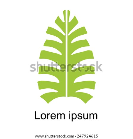 Palm leaf icon isolated on white background, art logo design - stock photo