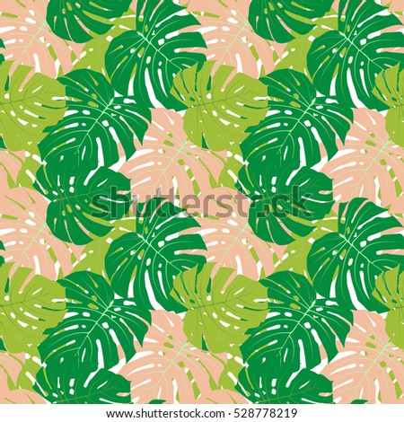 Palm Leaf Seamless Pattern Background  Illustration