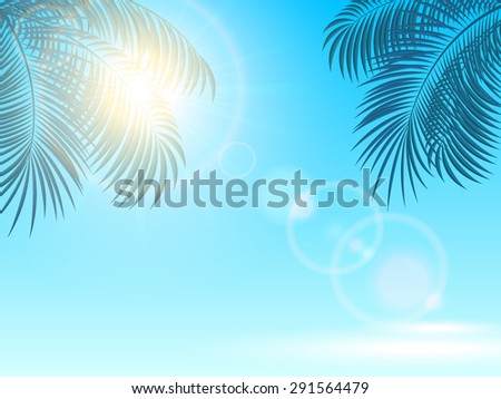 Palm leaves and the Sun on a blue shiny background, illustration. - stock photo
