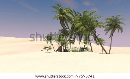 palm oasis in desert - stock photo