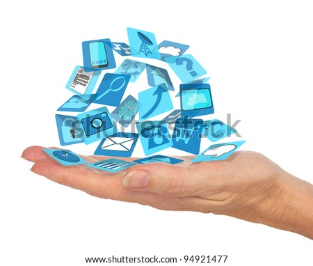 Palm of a hand holding icons of applications isolated on white - stock photo