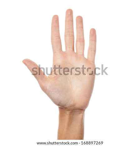 Palm of a woman with fingers open - stock photo
