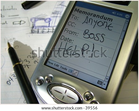 Palm pilot memo asking for help from the boss - stock photo
