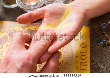 Palm reading, characterization and foretelling the future through the study of the palm - stock photo