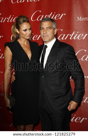 PALM SPRINGS, CA - JAN 7: Stacy Keibler; George Clooney at the 23rd Annual Palm Springs International Film Festival Awards Gala at Palm Springs Convention Center on January 7, 2012 in Palm Springs, CA - stock photo
