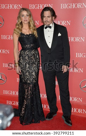 PALM SPRINGS, CA - JANUARY 2, 2016: Actor Johnny Depp & actress wife Amber Heard at the 2016 Palm Springs International Film Festival Awards Gala